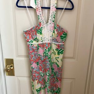LILLY PULITZER Lace Halter Dress Flower Butterfly